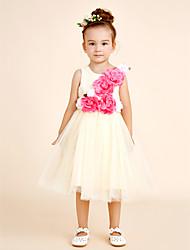 Vestido de vestido de flor com vestido de bola com joelho - colher de algodão sem mangas com babados