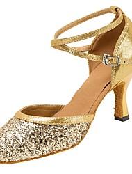 Maßfertigung Damen Modern Sandalen Absätze Professionell Verschlussschnalle Glitter Maßgefertigter Absatz Gold Silber10 cm und mehr 2,5 -