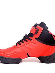 Maßfertigung Damen Tanz-Turnschuh Leder Sneakers Im Freien Flacher Absatz Weiß Rot 2,5 - 4,5 cm