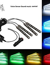 1SET Voice Sensor Music Sound Control Car Atmosphere lamp Wireless Remote Control Interior Floor Decoration Foot Light Ambient RGB Neon Lamp Strip