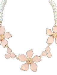 Women's Choker Necklaces Pendant Necklaces Imitation Pearl Flower Imitation Pearl AlloyBasic Unique Design Rhinestones Pearl Friendship