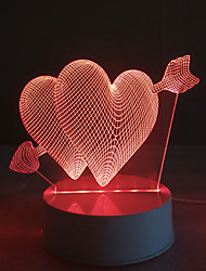 3D Acrylic Piercing Heart LED Lamp Discoloration Night Lights for Kids Room Decorative Lamps Remote Control Arrow Hearts Lights Lamps for Family