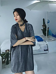 Moulante Robe Femme SortieCouleur Pleine Col Arrondi Mini ½ Manches Coton Printemps Taille Basse Micro-élastique Moyen