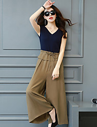 Women's Casual/Daily Jumpsuits,Vintage Simple Loose Solid Color Summer