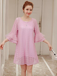Women's Birthday A Line Dress,Solid Round Neck Knee-length Long Sleeve Silk Summer Low Rise Micro-elastic Semi-opaque