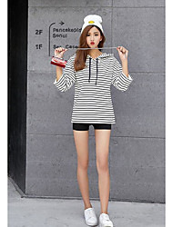 Women's Casual/Daily Simple Spring T-shirt,Striped Hooded ¾ Sleeve Cotton Thin