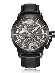 Homens Relógio de Moda relógio mecânico Automático - da corda automáticamente Impermeável Noctilucente Couro Banda Preta Marrom