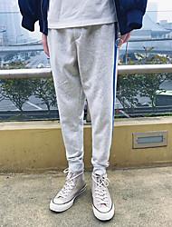 Hombre Sencillo Tiro Medio Inelástica Chinos Pantalones,Delgado A Rayas