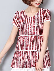 Damen Gestreift Einfach Lässig/Alltäglich T-shirt,Rundhalsausschnitt Sommer Kurzarm Baumwolle