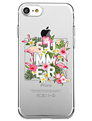 Pour iphone 7 plus 7 cas couverture transparent pattern back cover case mot / phrase flamingo fleur doux tpu pour iphone 6s plus 6s 6 plus