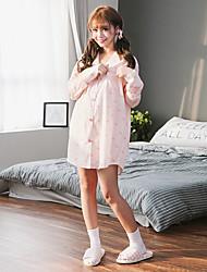 Women's Sleep Dress Cute Animal Pattern Button-Up Long Sleeve T-Shirt Dress