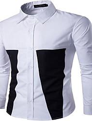 Masculino Camisa Social Para Noite Casual Simples Activo Verão,Estampa Colorida Algodão Raiom Colarinho de Camisa Manga Longa Fina