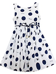 Girls Blue Dot Eyes Belt Dresses Party Birthday Pageant Summer Children Clothes