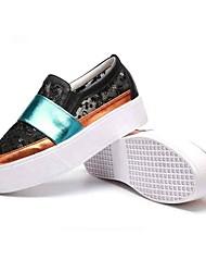 Для женщин Мокасины и Свитер Криперы Удобная обувь Тюль Весна Лето Повседневные Для прогулок Криперы Удобная обувь Пайетки МикропорыБелый