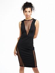 Femme Dos Nu Moulante/Gaine Robe Soirée /Soirée Sexy,Couleur Pleine Col en V Midi Sans Manches Blanc/Noir Coton/Polyester