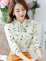 Women's Daily Casual Cute Blouse,Floral Crew Neck 3/4-Length Sleeve Chiffon