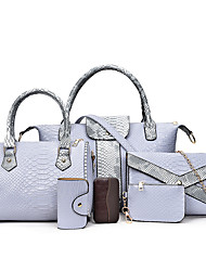 Women Bag Sets PU All Seasons Formal Sports Casual Shell Magnetic Gray Black White Blue
