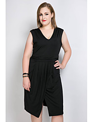 Really Love Women's Plus Size Casual/Daily Holiday Sexy Vintage Cute A Line Shift Sheath Dress,Solid V Neck Midi Asymmetrical SleevelessPolyester