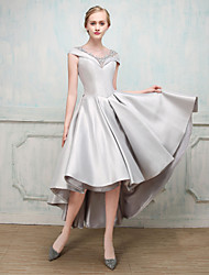 Cocktail Party Dress - Elegant Ball Gown Jewel Ankle-length Mikado with Crystal Beading Lace