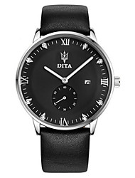 Men's Fashion Watch Quartz Water Resistant / Water Proof Leather Band Black