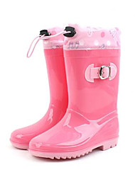 Girls' Flats Comfort Rubber Spring Fall Outdoor Casual Walking Rain Boots Magic Tape Low Heel Navy Blue Blushing Pink Light Blue Flat