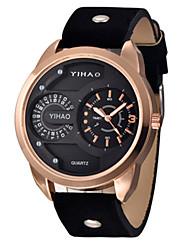Men's Sport Watch Fashion Watch Quartz Leather Band Black