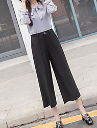 Feminino Simples Cintura Média Inelástico Perna larga Calças,Reto Perna larga Cor Única