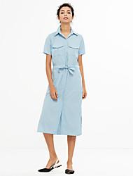 выходя простое платье оболочки, твердый воротник рубашки синий полиэстер / другие весна / лето середины подъем неэластичным