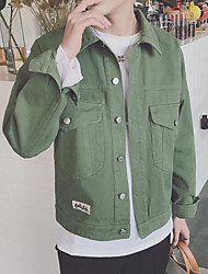 Men's Other Casual Jackets Spring Jacket,Solid Shirt Collar Long Sleeve Regular Cotton