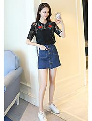 Damen Stickerei Einfach Lässig/Alltäglich T-shirt,Rundhalsausschnitt Kurzarm Baumwolle Polyester