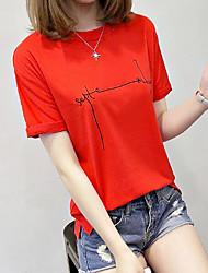 Damen Druck Einfach Alltag T-shirt,Rundhalsausschnitt Kurzarm Baumwolle