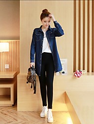 Women's Going out Simple Fall Denim Jacket,Solid Shirt Collar Long Others