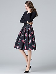 Women's High Rise Casual/Daily Knee-length Skirts Swing Floral Animal Print Fall
