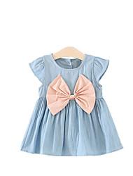Girl's Bowknot Dress,Acrylic Denim Autumn/Fall Summer Short Sleeve