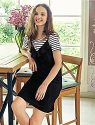Damen Solide Gestreift Freizeit Alltagskleidung T-Shirt-Ärmel Kleid Anzüge,Rundhalsausschnitt Sommer Kurzarm