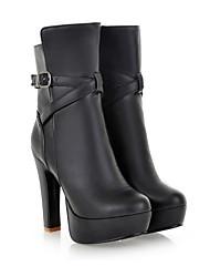 Women's Boots PU Fall Winter Chunky Heel White Black Almond 3in-3 3/4in