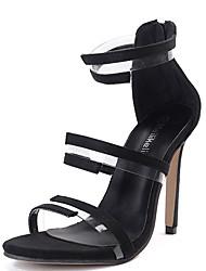 Damen Sandalen Vlies Sommer Kombination Stöckelabsatz Schwarz 10 - 12 cm