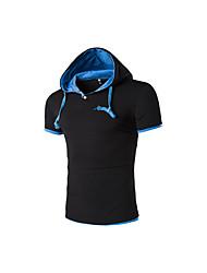 Herren Einfarbig Einfach Lässig/Alltäglich T-shirt,Mit Kapuze Kurzarm Baumwolle