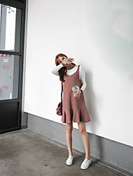 Women's Casual Dresses Spring T-shirt Dress Suits,Solid Round Neck Long Sleeve