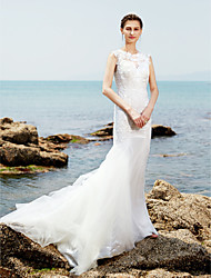 Mermaid / Trumpet Jewel Neck Sweep / Brush Train Lace Tulle Wedding Dress with Lace Ruche by LAN TING BRIDE®