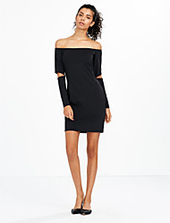 Women's Off The Shoulder|Cut Out Casual/Daily / Club Sexy / Simple Bodycon Cut Out Backless Slim DressSolid Boat Neck Mini Long Sleeve
