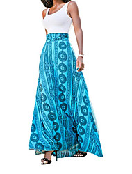Women's Casual/Daily Simple Sheath Dress,Geometric Print Strap Maxi Sleeveless Cotton Summer High Rise Stretchy Thin