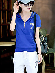 Women's Sports Active Summer T-shirt Pant Suits,Solid Letter Hooded Short Sleeve