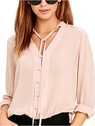 Women's Simple Cute Spring Summer Blouse,Solid V Neck Long Sleeves Polyester Medium