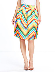 Women's Casual/Daily Knee-length Skirts A Line Rainbow Fall Winter