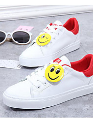 Women's Sneakers Comfort PU Canvas Spring Sports Red/White Black White Flat