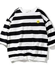 Herren Gestreift Einfach T-shirt,Rundhalsausschnitt ¾-Arm Baumwolle