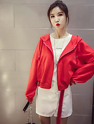 Women's Daily Casual Spring/Fall Jacket,Color Block Stripe Hooded Long Sleeve Short Cotton Blend