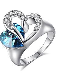 Women's   Elegant Platinum Sapphire  Heart Shape Ring Jewelry Fof Wedding Anniversary Party/Evening Engagement