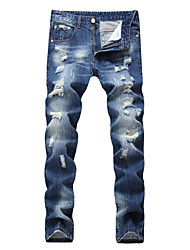 HOT! 28-42 Plus Size Ripped Denim Jeans Men's Mid Rise strenchy Chinos Pants Simple Slim Cut Out Solid High Quality Famous Brand Denim Jeans